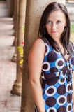Sexy girl with brown hair in dress fashion model Royalty Free Stock Images