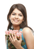 Sexy girl with bunch of pink roses Royalty Free Stock Photo