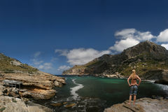 girl at Cala Figuera (Cabo Formentor, Mallorc Royalty Free Stock Image