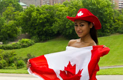 Sexy girl with a Canada flag Royalty Free Stock Photo