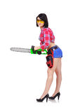 Sexy girl with chainsaw Stock Image