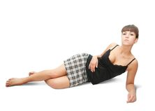 Sexy girl in checked skirt Royalty Free Stock Photography