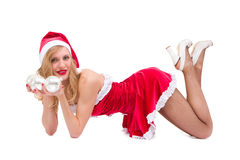 Sexy girl with Christmas decorations Stock Image