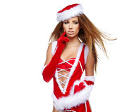 sexy girl with christmas gifts Royalty Free Stock Image