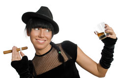 girl with cigar and whiskey Stock Photo