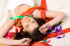 Sexy girl with colourful ribbons Stock Photo