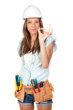 Sexy girl with construction tools Royalty Free Stock Photo