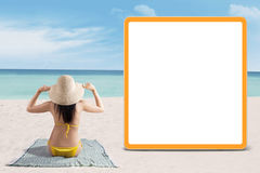 girl with copyspace at beach Stock Images