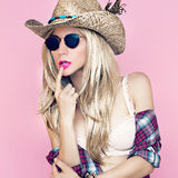 Sexy girl in cowboy fashion style Stock Image
