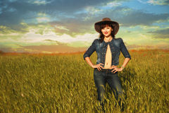 Girl in cowboy hat. Young girl in cowboy hat Stock Images