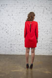 Sexy girl in crimson  dress. back view Stock Photos