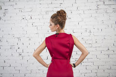 girl in crimson  dress Royalty Free Stock Photo