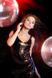 Sexy girl dancing over mirror ball. Background Royalty Free Stock Photos