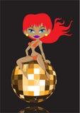 Sexy girl with disco ball Stock Image