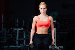 Sexy girl doing exercises in her arms biceps and triceps. fitness with dumbbells in the gym. Nice cute female. sitting on the bench Stock Photography