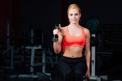Sexy girl doing exercises in her arms biceps and triceps. fitness with dumbbells in the gym. Nice cute female. sitting on the bench Stock Photos