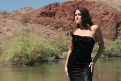 Sexy girl in dress. Sexy girl in black dress Royalty Free Stock Image