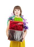 Sexy girl in dress with present boxes Stock Images