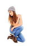 Sexy girl dressed casual Stock Photography