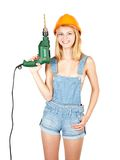 girl with drill Royalty Free Stock Photography