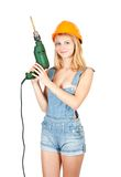 Sexy girl with drill Stock Image