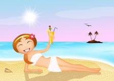 Sexy girl drink cocktail on the beach Stock Photos