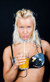 Sexy girl drinking Royalty Free Stock Photography
