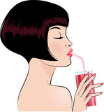 Girl drinking cocktail vector illustration