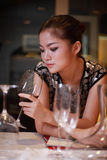 girl drinking wine Royalty Free Stock Images