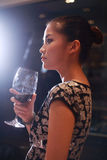 Sexy girl drinking wine Stock Photography