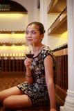 Sexy girl drinking wine Stock Image