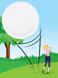 Girl is driving golf. Illustration of girl is driving a golf.Contain gradient and clipping mask royalty free illustration