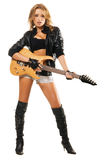 Sexy girl with electric guitar against. White background Stock Photo