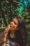 girl enjoying ice-cream Royalty Free Stock Image
