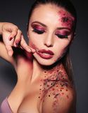 Sexy girl with extravagant make up for Halloween Royalty Free Stock Photos