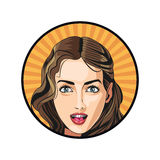 Sexy girl face hairstyle model beautiful sticker yellow background. Vector illustration eps 10 Stock Image