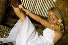 Sexy Girl Farmgirl Stock Image