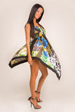 Girl in fashion dress. Studio isolated stock image