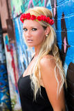 Sexy Girl with flower headband and graffiti Royalty Free Stock Photo