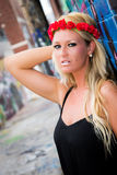Sexy Girl with flower headband and graffiti Stock Photo