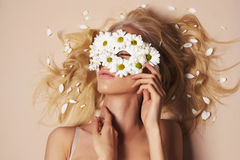 Sexy girl in flower mask Stock Photos