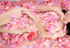 Sexy Girl in flower spa Royalty Free Stock Photo