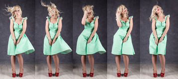 Sexy girl with flying hair posing in green dress and red shoes. different emotion in one shot.  Stock Image