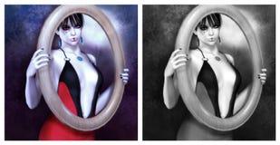 girl in the frame stock illustration