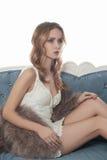 girl in fur royalty free stock photo