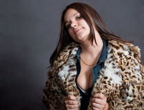 Sexy girl in fur coat Royalty Free Stock Photos
