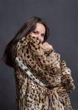 Sexy girl in fur coat Stock Photo