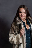 Sexy girl in fur coat Royalty Free Stock Photo