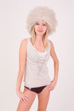 Sexy girl in furry hat Stock Photography