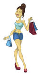 Sexy Girl Going Shopping Royalty Free Stock Images